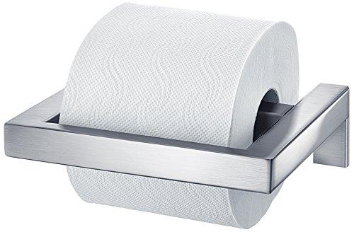 blomus -MENOTO- WC-Rollenhalter aus mattiertem Edelstahl, Klopapierhalter, Toilettenpapierhalter, exklusives Badaccessoire, einfache Montage, hochwertig (H / B / T: 5 x 14 x 17 cm, Edelstahl, 68837)