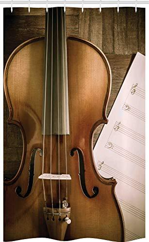 ABAKUHAUS Geige Schmaler Duschvorhang, Instrument & Musik-Blatt, Badezimmer Deko Set aus Stoff mit Haken, 120 x 180 cm, Umber Perle & Grün Braun