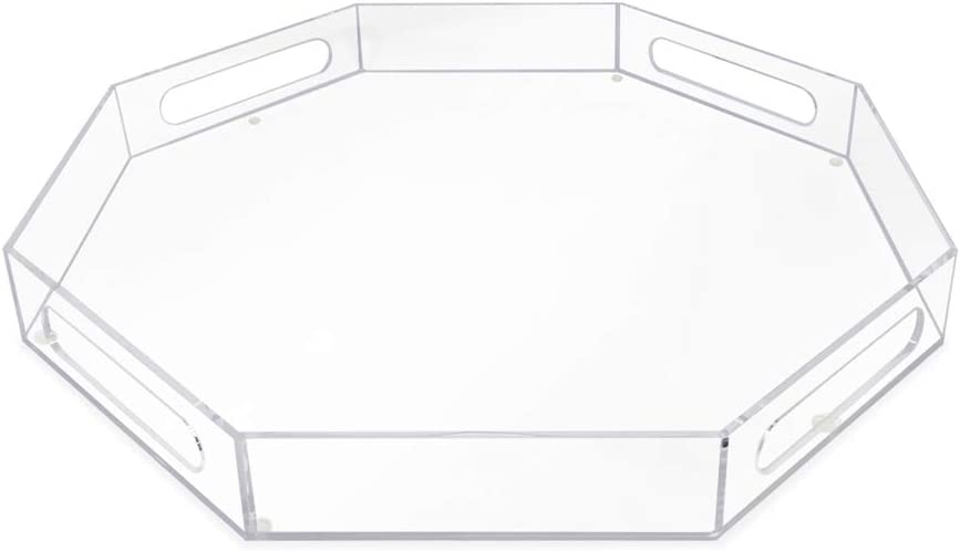 Isaac Jacobs Be super welcome ClearOctagonAcrylic Serving Tray wi Max 52% OFF 18x18