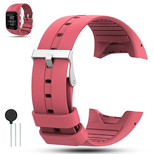 Für Polar M400/M430 GPS Smart Uhrenarmband, iFeeker Zubehör Weiche Silikon Gummi Ersatz Armband Armband Sport Armband für Polar M400/M430 GPS Uhr, Pink Rot