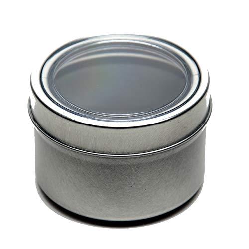 4 oz Applause Magnetic Versatile Food & Spice Storage Tins, BPA Free, Rigid Clear Window Lid, Food Grade Tinplate Steel (1/2 cup (12 tins))