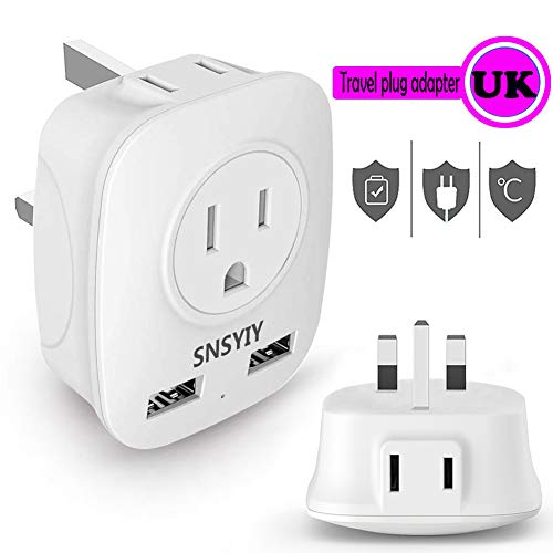 Power Adapter for UK Ireland Hong Kong, Travel Plug Adapter for USA to British England Scotland Irish London, 4 IN 1 Outlet Adapter with USB Port (1-Pack)