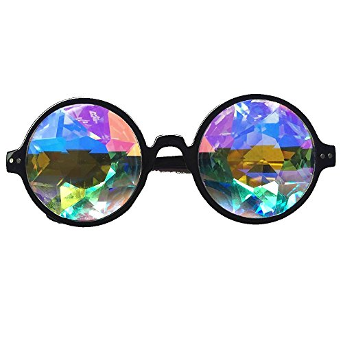 OMG_Shop Festivals Kaleidoscope Glasses Rainbow Prism Sunglasses Goggles Black