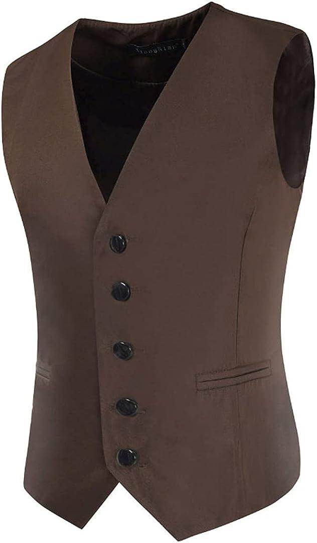 Men Slim Casual Business Suit Vests Mens Wedding Waistcoat Gilet Oversized Single Breasted Vest