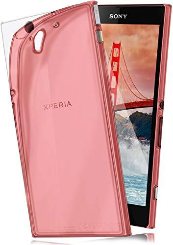 moex Aero Hülle kompatibel mit Sony Xperia Z - Hülle aus Silikon, komplett transparent, Klarsicht Handy Schutzhülle Ultra dünn, Handyhülle durchsichtig einfarbig, Rot