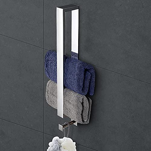 Toallero sin taladrar, barra de toalla de baño, autoadhesivo, de acero inoxidable, SUS304, soporte para toallas de invitados, soporte para pared, 40 cm, con ganchos para baño y cocina