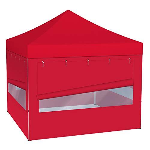 Vispronet® Faltpavillon Eco 3x3 m ✓ 4 Zeltwände mit Panoramafenster ✓ Scherengittersystem ✓ inkl. Dach mit Volant (Rot)