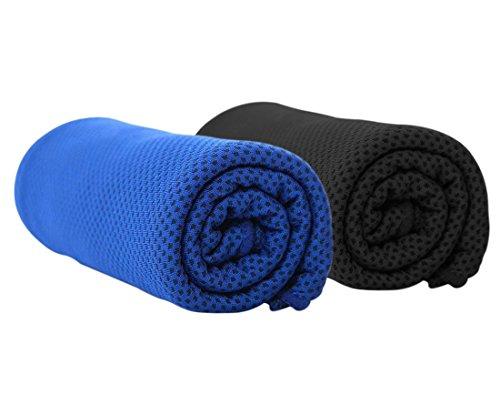 Barrageon 2 Piezas Toalla de Enfriamiento para Alivio de Calor Instantáneo,Toalla Fresca para Deportes, Gimnasio, Yoga, Camping, Bufanda Helada para Hombres, Mujeres, Jóvenes Niños Negro/Azul