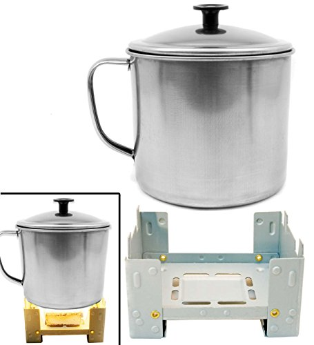 Outdoor Saxx® – Réchaud de camping pliable Stove pour tissu sec + tasse de camping, casserole d'extérieur avec couvercle en acier inoxydable 550 ml, lot de 2 Smart Outdoor