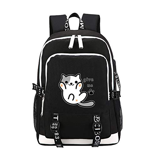 Neko Atsume School Backpack Comfortable and Wear Resistant Travel Large Capacity Backpack with USB Charging Port Sports Backpack (Color : Black01, Size : 30 X 15 X 44cm)