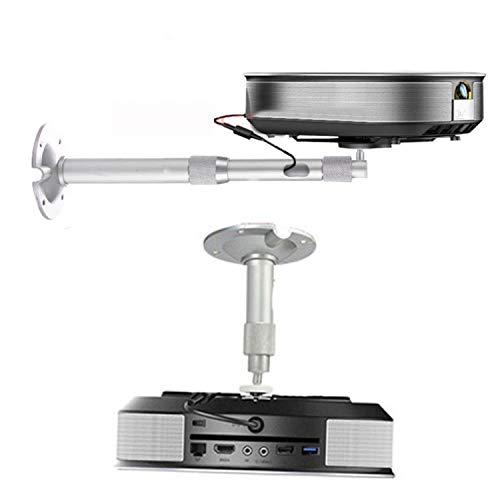 Soporte de Techo o Pared para Mini proyector hasta 5kg de Peso, Compatible con Rosca de tripode Construido en Aluminio, Compatible también con CCTV, Brazo de 20cm