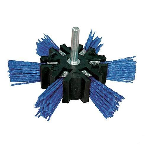 Nylon- Fächerbürste für die Bohrmaschine Ø 100 mm fein blau
