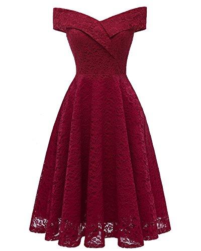 Laorchid Damen Vintage cocktailkleid schulterfrei Sommerkleid v Ausschnitt a Linie Kleid Abendkleid elegant Partykleid Knielang ballkleid Spitzenkleid Rot XXL