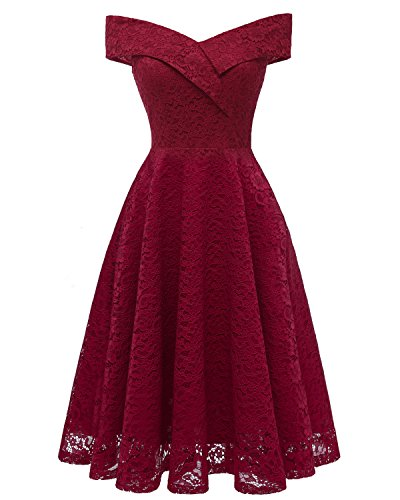 LA ORCHID Laorchid Mode Damen Spitze Abendkleider Brautjungfern Kleid Cocktail Party Ärmlos Burgundy XXL
