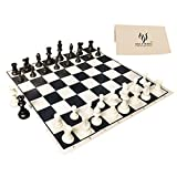 HOLYKING 19' Tournament Cloth Chess Board Set - Portable Travel Chess Game Set Roll Up Combination- Beginner Chess Set for Kids and Adults