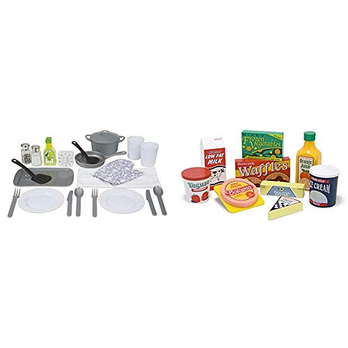 Melissa & Doug Kitchen Accessory Set (Pretend Play, Best for 3, 4, 5 Year Olds and Up) & Fridge Food Wooden Play Food Set, The Original (Best for 3, 4, 5 Year Olds and Up)
