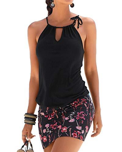YOINS Sommerkleid Damen Sexy Partykleid Jumpsuit schulterfrei Ärmellos Strandkleid Chiffon Rock Casual Mini Schwarz M/EU40-42