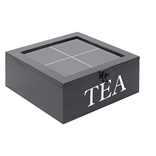 Schwarze Teebox: Holz, Transpanetdeckel, 4 Fächer