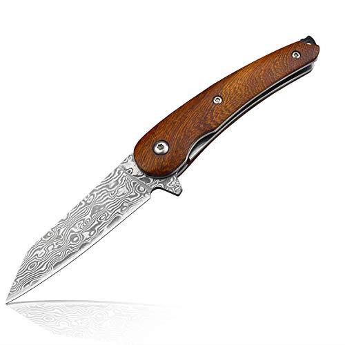 AUBEY Mini Taschenmesser Kein Holzgriff, Damast Messer EDC Jagdmesser Damaststahl, Klappmesser, Damastmesser Schlüsselanhänger, Damascus Knife … (Damaststahlklinge)
