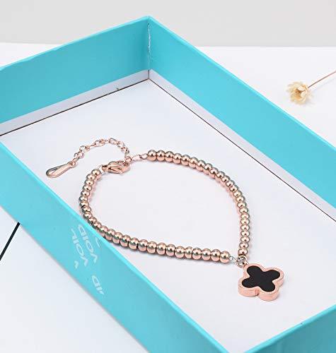 XBJ Damen Armband, natürliche Perlmutterfarbe Gold Armband, Mode runde Perle Titan Stahl Roségold Armband