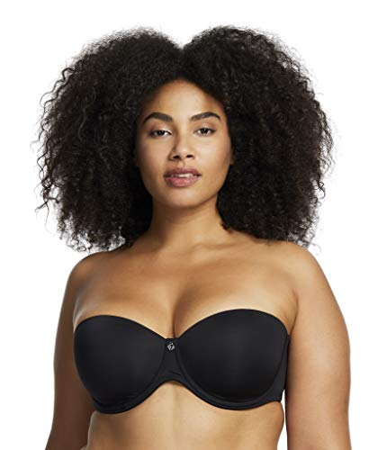 Montelle Women's Stretch Lightweight Foam Cup Strapless Bra, Optional Straps Included, Black, 34D