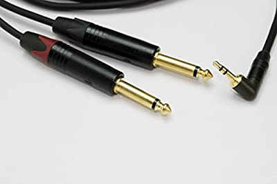 Neutrik 3.5mm TRS Stereo Angled Jack to 2 (Twin) x 6.35mm Jacks Cables Leads Pro (1 Metre)