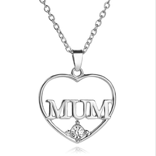 Idiytip Hollow Heart Shaped Pendant Necklace Mum Letters Crystal Necklace Mom Jewelry,Silver