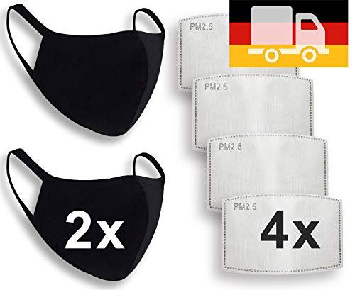 2X Staubmaske mit 4X wechselbarem Anti-Staub Aktivkohlen-Filter PM2.5, Unisex Mund- und Nasen-Maske, Behelfs-Mundschutz, waschbare Baumwoll-Stoff-Maske, Wiederverwendbare Gesichtsmaske schwarz