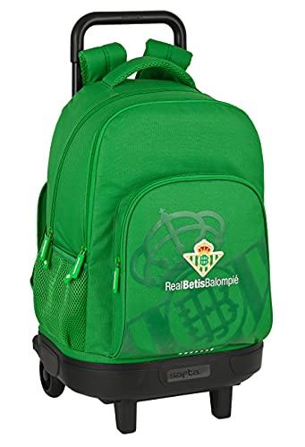 Safta Mochila Escolar con Carro Incluido y Espalda Acolchada de Real Betis Balompié, 330x220x450 mm, Verde