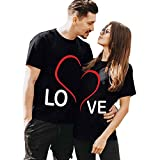 Yowein Matching Shirts for Couples Love - LO VE - Valentine's Day T-Shirt for him and her Personalized Matching Couples Black