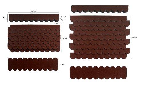 0,8 m²-2-Sets Mini Dachschindeln,Braun,Dachpappe,Biberschwanz,Kaninchenstall,Hundehütte,Vogelhäuser,Brunnenüberdachung,Abdeckung,Nistkasten,Briefkasten