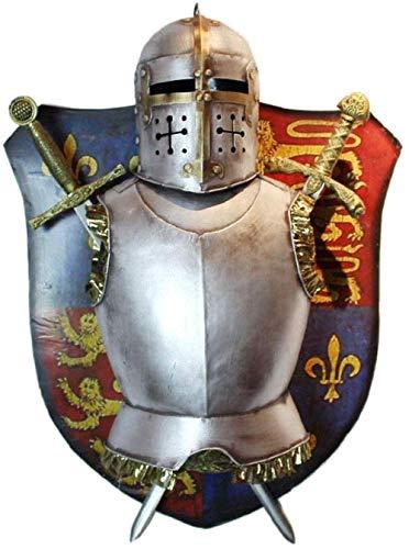 HGNMK Esculturas coleccionables Decorativas para el hogar Escudo y Espada Traje Armadura decoración de Pared Colgante de Pared Retro Sala de Estar Medieval Noble Caballero Escudo