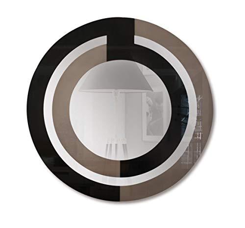 Curvasa Nara Espejo, Lacado, Negro, 95x95x5 cm