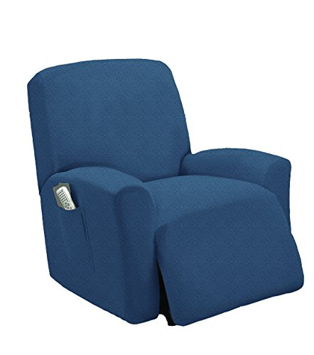 Golden Linens One Piece Stretch Recliner Chair Furniture Slipcovers with Remote Pocket Fit Most Recliner Chairs (Blue)