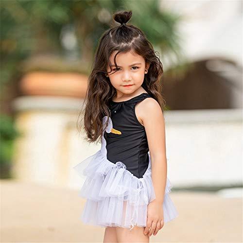 YYBSFZD Girls Black Little Swan Princess Skirt Cute Ricamo Costumi da Bagno per Bambini Bambini Piccoli Costume Intero Gonna, L