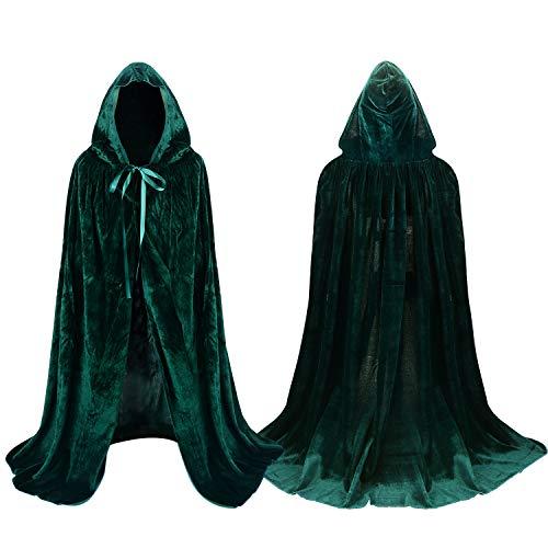 Proumhang Grün Umhang mit Kapuze SAMT für Kinder Halloween Kostüm Vampir Tod