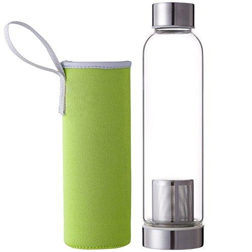 Drawihi 550ml Glas Tee-Flasche mit Filter Wasserflasche Glasflasche Trinkflasche Teebereiter Isolierung Trinkbecher mit Nylon Tasche (Grün) 24 * 4 * 6.2 cm