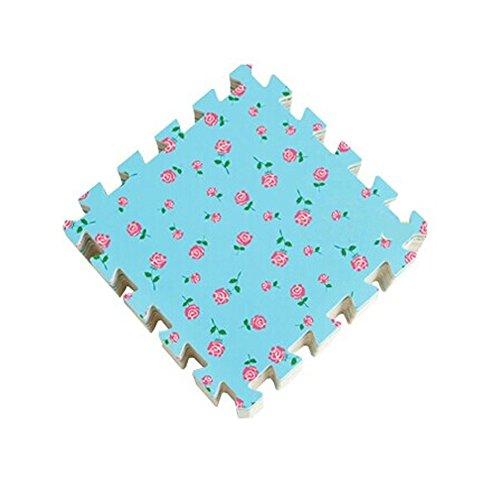 Fleurs Interlocking Tiles mousse mousse EVA tapis de sol (9 carreaux, bleu)