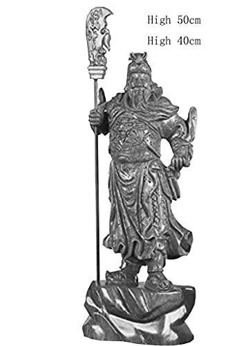 WQQLQX Statue Hölzerne Statue Huanghuali Guan Gong Skulptur Handwerk Dekoration Figuren Büro Feng Shui Dekoration Skulpturen (Color : B, Size : High 50cm)