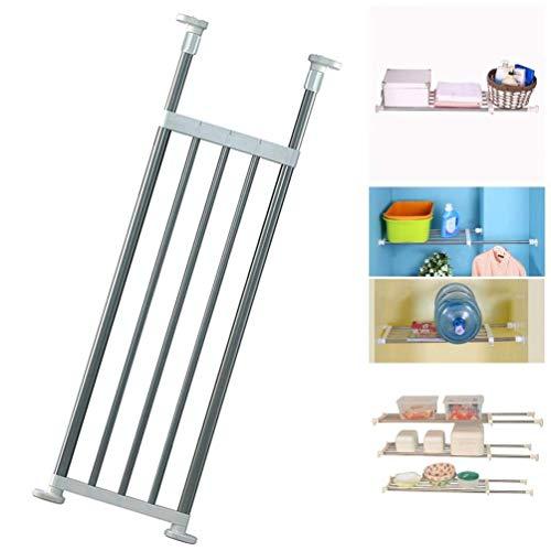 BAOYOUNI Expandable Closet Tension Shelf Rod Organizer Adjustable Storage Rack Heavy Duty Clothes Hanger Metal Space Saving Divider for Bathroom Kitchen Cupboard Wardrobe Bookshelf 32''-46'', Ivory