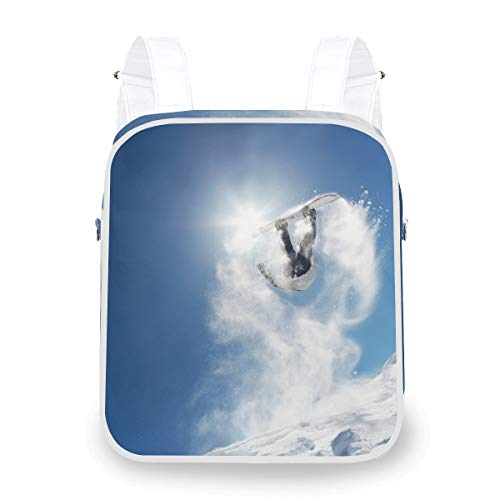 Snowboarder Launching Off Jump Multi Function Shoulder Bag School Casual Daypack Backpack Bookbag