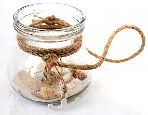 maritime Dekoration Teelichtglas mit Sand und Anhänger Anker Windlicht