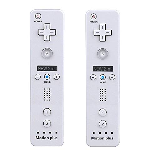 SIBIONO - Wii Remote Motion Plus Controller (2 Packs) for Nintendo Wii&Wii U Video Game Gamepads. (White)