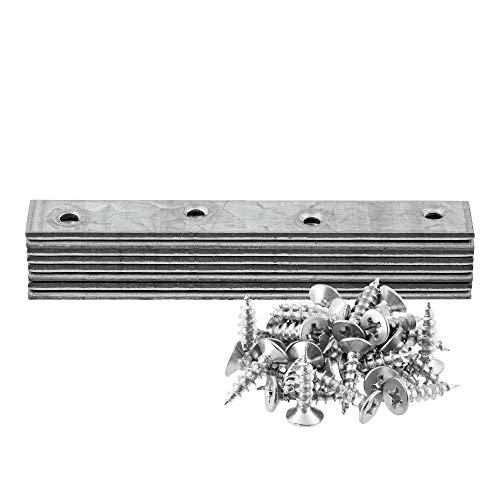 Flachverbinder Flachwinkel 98x15mm gerade verzinkt, 1-10 Sets wählbar, Set mit Schrauben Lochplatten Flacheisen Verbindungsblech Holzverbinder Lochbinder Befestigung-verbinder (3)