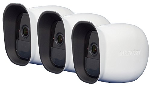 Silicone Case Skin with Dual Layer Sunshade Design, Clear (Not Fuzzy) Night Vision - Sun Glare UV Weather Protection Cover for Arlo Pro & Arlo Pro 2 Smart Security Camera, 3 Pack (White)