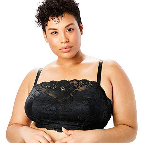 Comfort Choice Women's Plus Size Lace Wireless Cami Bra - 52 G, Black