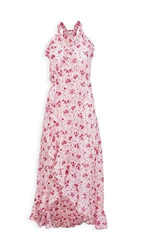 Poupette St Barth Women's Tamara Ruffled Long Dress, Pink Watercolor, Large