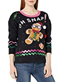 blizzard bay women's gingerbread man ugly christmas sweater, black sequins, small