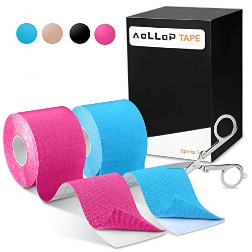 Zinuu 2 Rollen Kinesiologie Tape,Aollop Physio Tape sports Tape elastische Bandage (1Blau+1Pink)