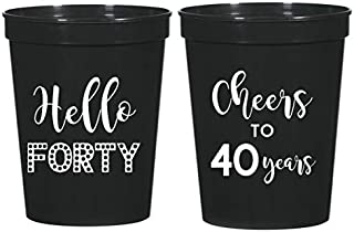 Mandeville Party Company 40th Birthday Black Stadium Plastic Cups - Hello 40, Cheers to 40 Years